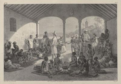 Litografia do mercado de escravos na rua do Valongo, no Rio de Janeiro, a partir de pintura de J. M. Rugendas (1802-1858), século XIX.